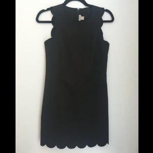 J. Crew black scalloped hem shift dress